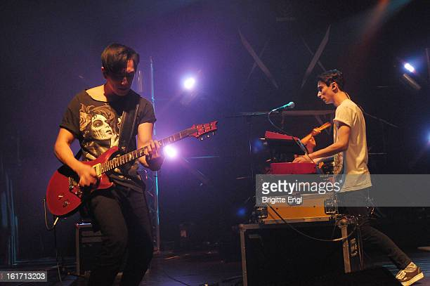 Nick Tsang and Josh Friend of Modestep perform on stage at KOKO on February 14 2013 in London England