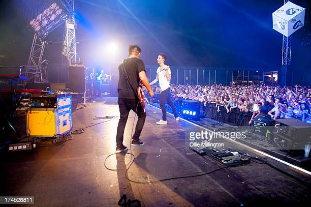 Nick Tsang and Josh Friend of Modestep perform on stage on Day 1 of Global Gathering 2013 on July 26 2013 in StratforduponAvon England