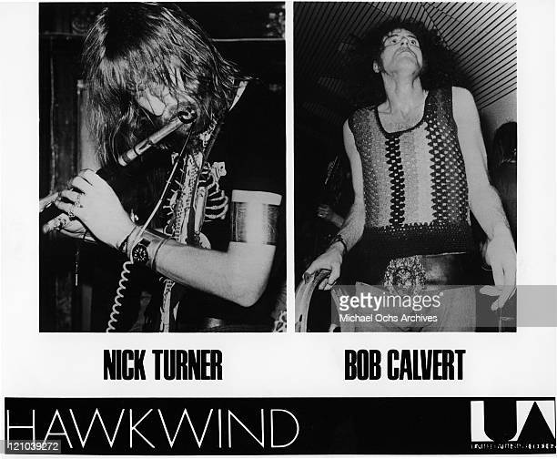 Nick Turner and Robert Calvert aka Bob Calvert of the space rock band Hawkwind perform onstage in this diptych circa 1973