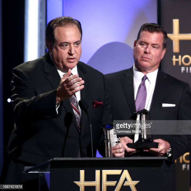 Nick Vallelonga and Brian Hayes Currie accept the Hollywood Screenwriter Award for Green Book onstage during the 22nd Annual Hollywood Film Awards at...