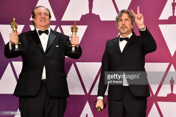 Nick Vallelonga and Peter Farrelly winners of Best Picture and Best Original Screenplay for Green Book pose in the press room during at Hollywood and...