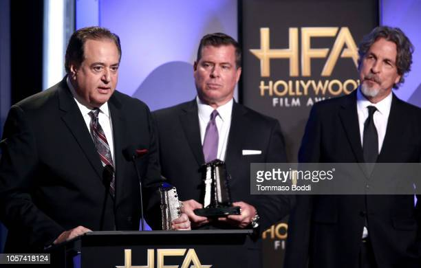 Nick Vallelonga Brian Hayes Currie and Peter Farrelly accept the Hollywood Screenwriter Award for Green Book onstage during the 22nd Annual Hollywood...