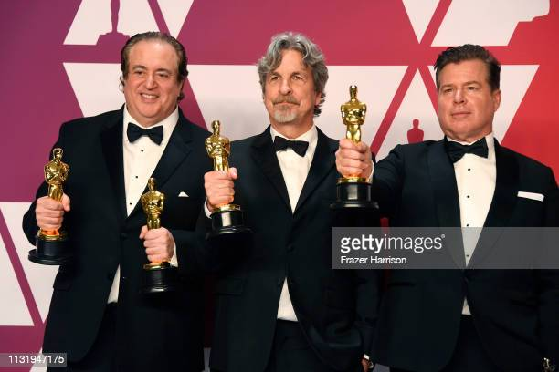 Nick Vallelonga Peter Farrelly and Brian Currie winners of Best Picture and Best Original Screenplay for Green Book pose in the press room during the...