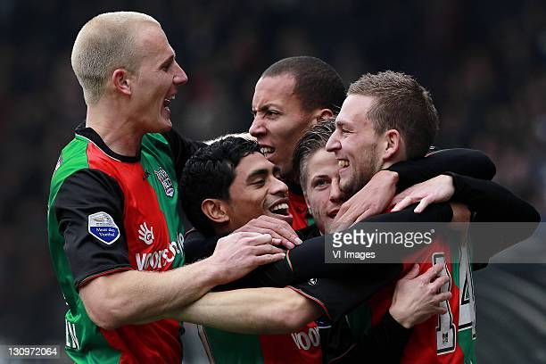 Nick van der Velden of NEC, Cayfano Latupeirissa, Ryan Koolwijk of NEC, Lasse Schone of NEC, Kevin Conboy of NEC during the Dutch Eredivisie match...