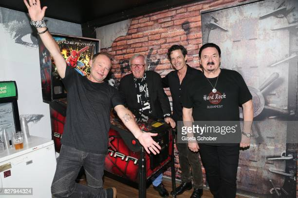 Nick van Eede Klaus Doldinger Mark Hart and Bobby Kimball after the Man Doki Soulmates concert during the Sziget Festival at Budapest Park on August...
