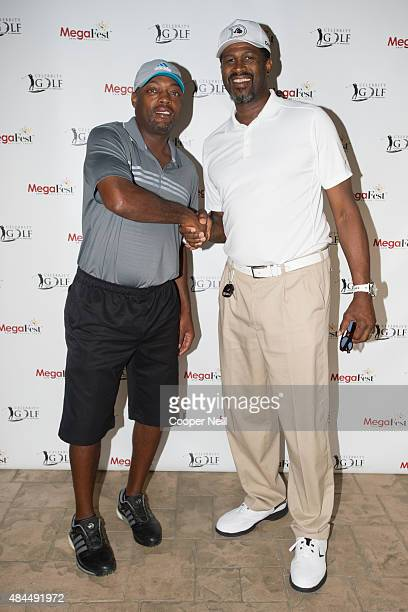 Nick Van Exel and Steffond Johnson pose for a photo before the MegaFest Celebrity Golf Tournament at Cowboys Golf Club on August 19 2015 in Grapevine...