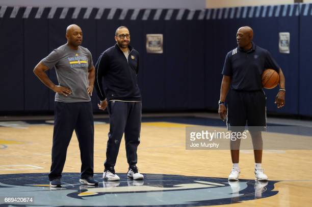 Nick Van Exel David Fizdale and Nick Van Exel of the Memphis Grizzlies look on and coaches during an all access practice on April 11 2017 at...