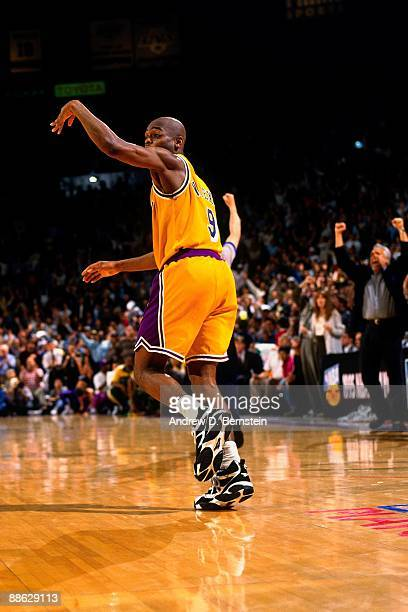 Nick Van Exel of the Los Angeles Lakers runs down the court in Game Four of the Western Conference Quarterfinals against the Seattle Supersonics...