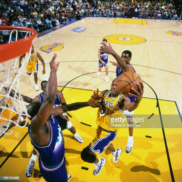 Nick Van Exel of the Los Angeles Lakers shoots against the Utah Jazz in Game Four of the Western Conference Semifinals as part of the 1998 NBA...