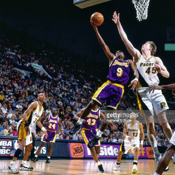Nick Van Exel of the Los Angeles Lakers shoots during a game played on March 2 1997 at Market Square Garden in Indianapolis Indiana NOTE TO USER User...
