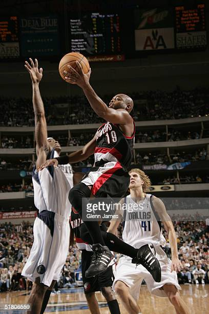 Nick Van Exel of the Portland Trails Blazers shoots a layup against the Dallas Mavericks during the game on November 26 2004 at the American Airlines...