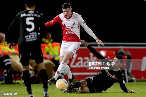 Nick Venema of FC Utrecht U23 Anass Najah of Telstar during the Dutch Keuken Kampioen Divisie match between Utrecht U23 v Telstar at the Sportpark...