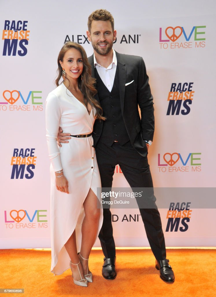 Nick Viall and Vanessa Grimaldi arrive at the 24th Annual Race To Erase MS Gala at The Beverly Hilton Hotel on May 5, 2017 in Beverly Hills, California.