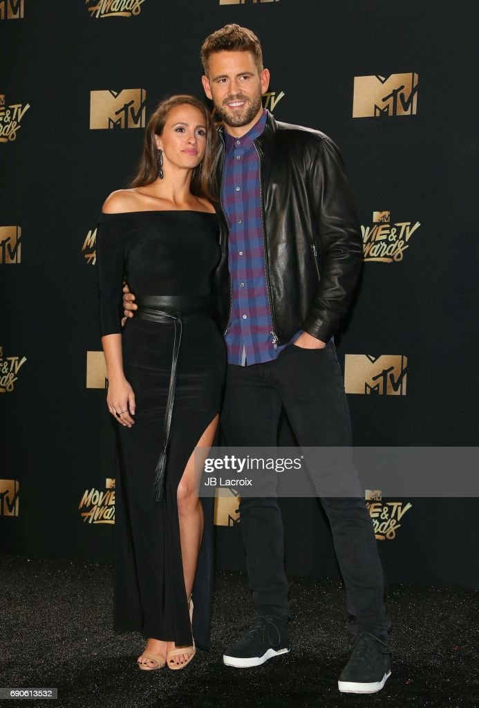 Nick Viall and Vanessa Grimaldi attend the 2017 MTV Movie and TV Awards at The Shrine Auditorium on May 7, 2017 in Los Angeles, California.