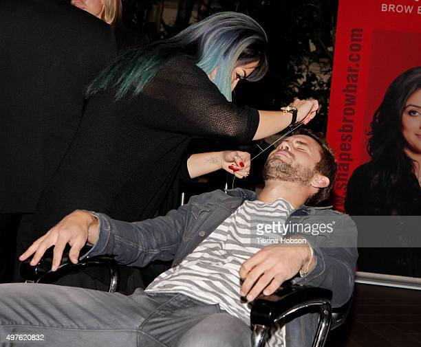 Nick Viall gets his eyebrows threaded at Ryan Seacrest Purse Party at Four Seasons Hotel Los Angeles at Beverly Hills on November 17 2015 in Los...