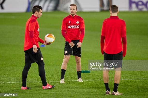 Nick Viergever and Jorrit Hendrix of PSV Eindhoven in action during training session ahead of the UEFA Europa League Group E stage match between PSV...