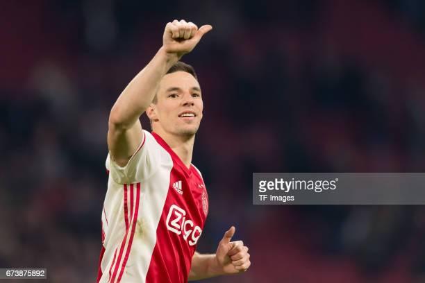Nick Viergever of Ajax Amsterdam gestures during the UEFA Europa League Quarter Final first leg match between Ajax Amsterdam and FC Schalke 04 at...