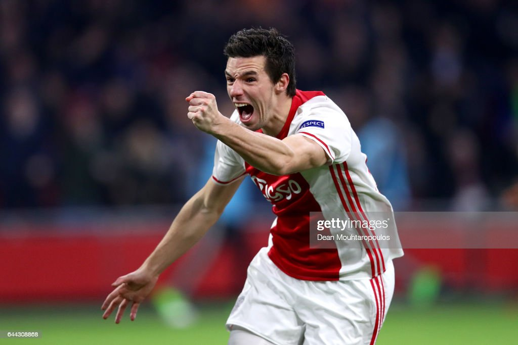 Nick Viergever of Ajax celebrates scoring his sides first goal during the UEFA Europa League Round of 32 second leg match between Ajax Amsterdam and Legia Warszawa at Amsterdam Arena on February 23, 2017 in Amsterdam, Netherlands.