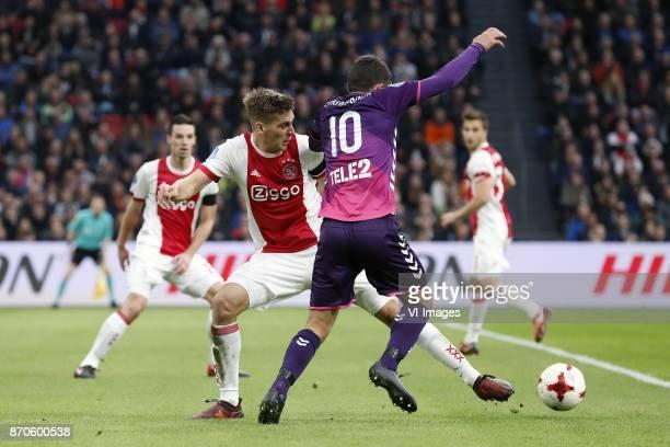 Nick Viergever of Ajax Maximilian Wober of Ajax Zakaria Labyad of FC Utrecht during the Dutch Eredivisie match between Ajax Amsterdam and FC Utrecht...