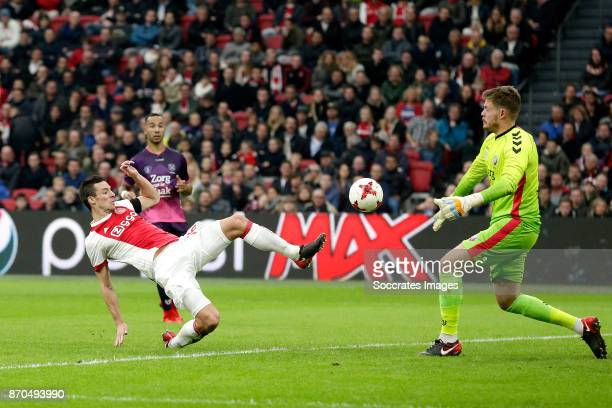 Nick Viergever of Ajax scores his sideÕs first goal to make it 11 during the Dutch Eredivisie match between Ajax v FC Utrecht at the Johan Cruijff...