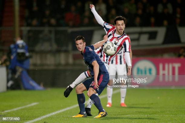 Nick Viergever of Ajax Tom Haye of Willem II during the Dutch Eredivisie match between Willem II v Ajax at the Koning Willem II Stadium on October 28...