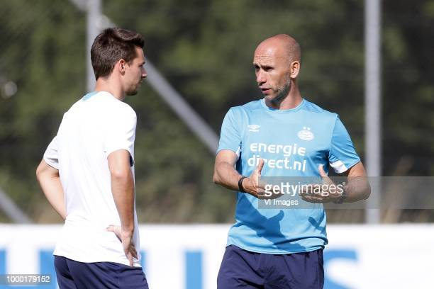 Nick Viergever of PSV Assistant trainer Jurgen Dirkx of PSV during the training camp of PSV Eindhoven at the Stade StMarc traingscomplex on Juli 16...