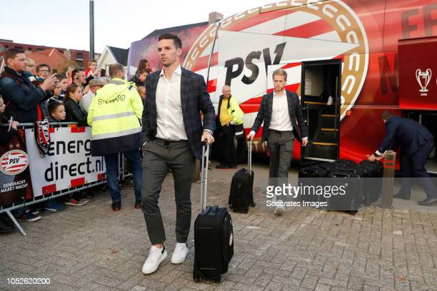 Nick Viergever of PSV Dante Rigo of PSV arrives with the players bus during the Dutch Eredivisie match between PSV v FC Emmen at the Philips Stadium...