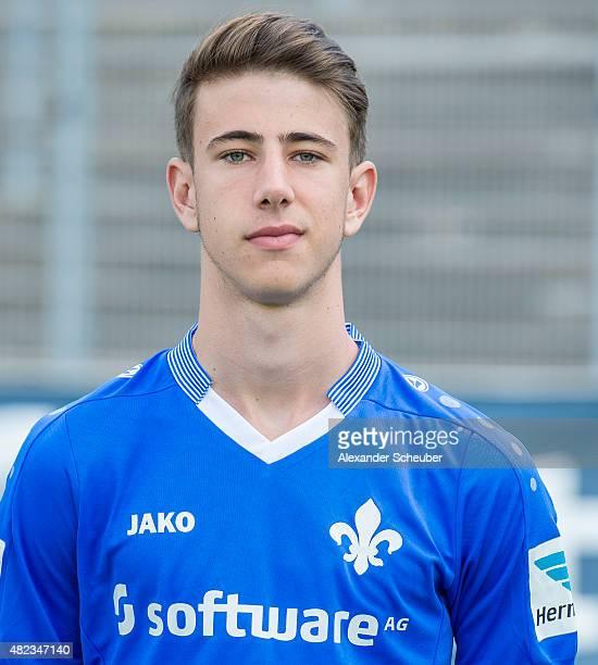 Nick Volk poses during the team presentation of SV Darmstadt 98 at MerckStadion am Boellenfalltor on July 30 2015 in Darmstadt Germany