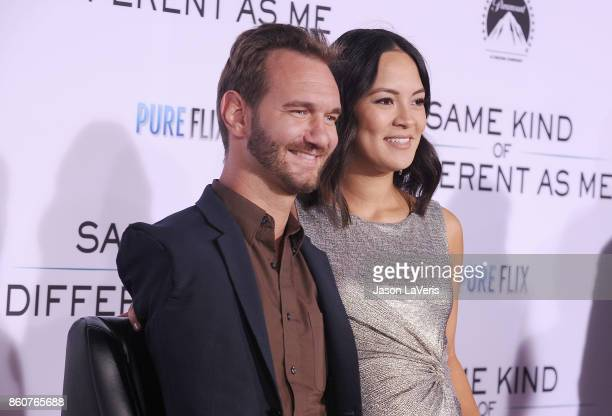 Nick Vujicic and wife Kanae Miyahara attend the premiere of 'Same Kind of Different as Me' at Westwood Village Theatre on October 12 2017 in Westwood...