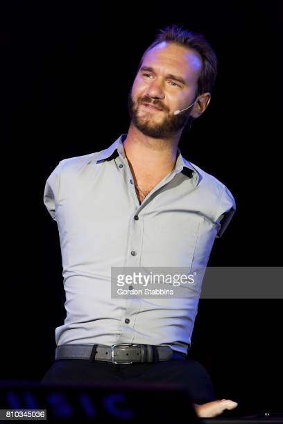 Nick Vujicic talks during the opening ceremony of Exit Festival 2017 on July 6 2017 in Novi Sad Serbia