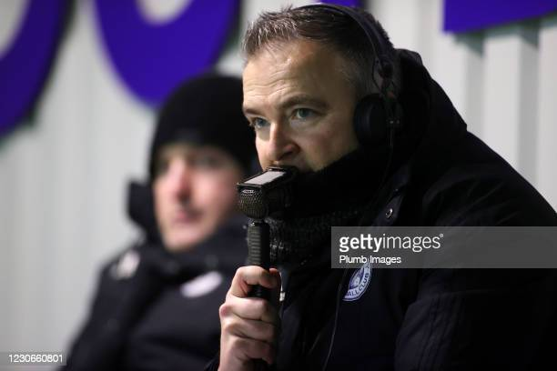 Nick Walsh commentates for LCFC TV during the Premier League 2 match between Leicester City and Manchester United at Leicester City Training Ground,...
