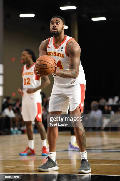 Nick Ward of the College Park Skyhawks prepares to shoot a free throw against the Iowa Wolves on December 21 2019 at the Mandalay Bay Events Center...