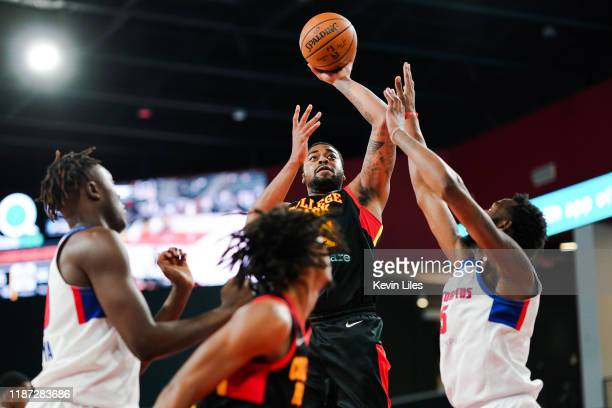 Nick Ward of the College Park Skyhawks shoots over the Grand Rapids Drive during the fourth quarter an NBA GLeague game on December 8 2019 at The...