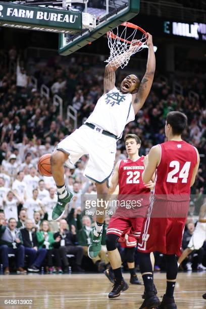 Nick Ward of the Michigan State Spartans dunks during the game against the Wisconsin Badgers in the first half at the Breslin Center on February 26...