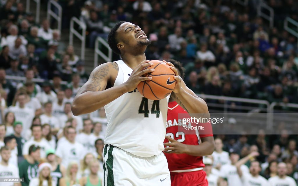Nick Ward #44 of the Michigan State Spartans reacts during the game against the Nebraska Cornhuskers at Breslin Center on December 3, 2017 in East Lansing, Michigan.