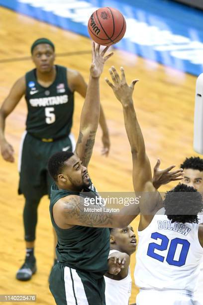 Nick Ward of the Michigan State Spartans takes a shot during the East Regional game of the 2019 NCAA Men's Basketball Tournament against the Duke...