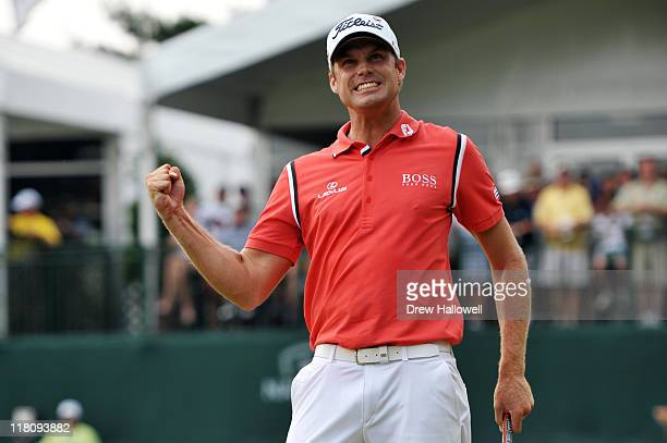 Nick Watney celebrates winning the ATT National at Aronimink Golf Club on July 3 2011 in Newtown Square Pennsylvania