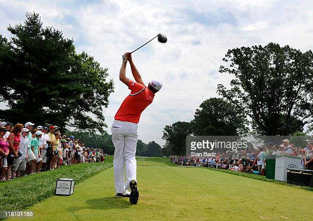 Nick Watney hits a drive from the third tee box during the final round of the ATT National at Aronimink Golf Club on July 3 2011 in Newtown Square...