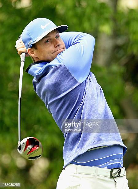 Nick Watney hits a tee shot on the 5th hole during the third round of the Wells Fargo Championship at Quail Hollow Club on May 4 2013 in Charlotte...