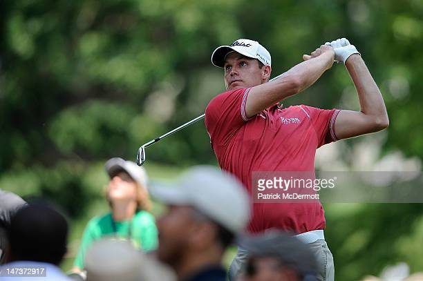 Nick Watney hits a tee shot on the seventh hole during Round One of the ATT National at Congressional Country Club on June 28 2012 in Bethesda...