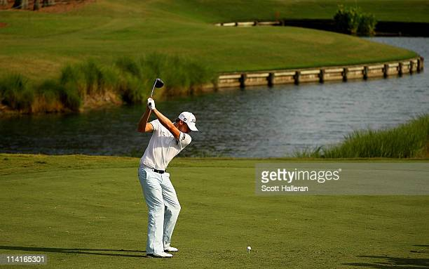 Nick Watney hits his tee shot on the 16th hole during the second round of THE PLAYERS Championship held at THE PLAYERS Stadium course at TPC Sawgrass...