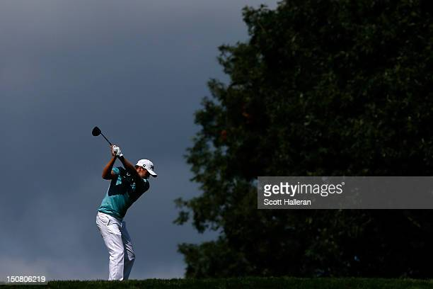Nick Watney hits his tee shot on the fifth hole during the final round of The Barclays at the Black Course at Bethpage State Park August 26 2012 in...