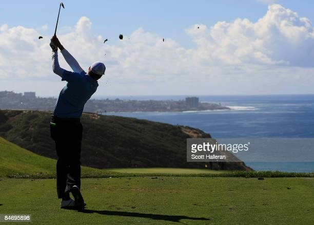Nick Watney hits his tee shot on the third hole during the final round of the Buick Invitational on the South Course at Torrey Pines Golf Course on...