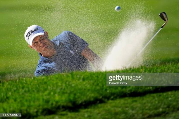 Nick Watney hits out of a bunker on the seventh hole during the second round of the Safeway Open at Silverado Resort on September 27, 2019 in Napa,...