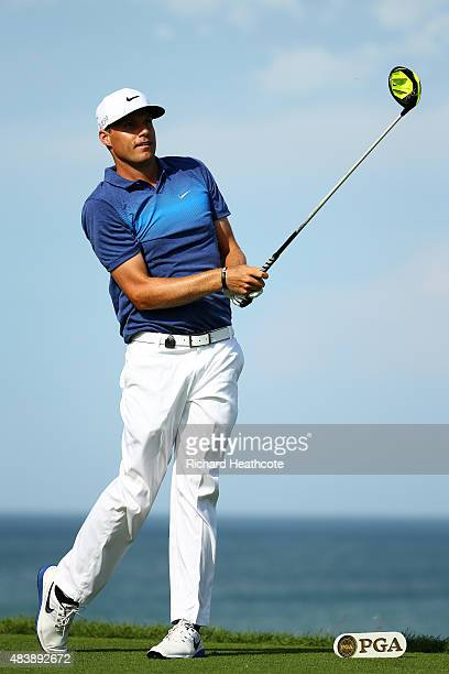Nick Watney of the United States plays his shot from the 14th tee during the first round of the 2015 PGA Championship at Whistling Straits on August...