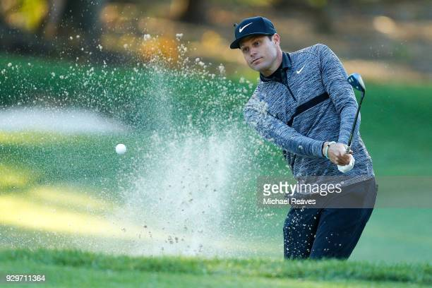 Nick Watney plays a shot from a bunker on the second hole during the second round of the Valspar Championship at Innisbrook Resort Copperhead Course...