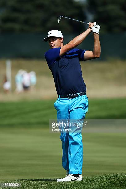 Nick Watney plays a shot on the 14th hole during the First Round of the BMW Championship at Conway Farms Golf Club on September 17 2015 in Lake...