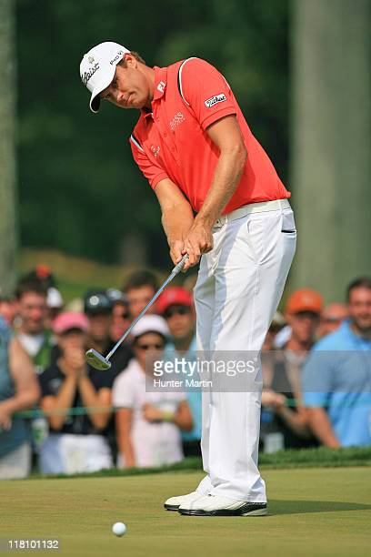 Nick Watney putts for eagle on the 16th hole during the final round of the ATT National at Aronimink Golf Club on July 3 2011 in Newtown Square...