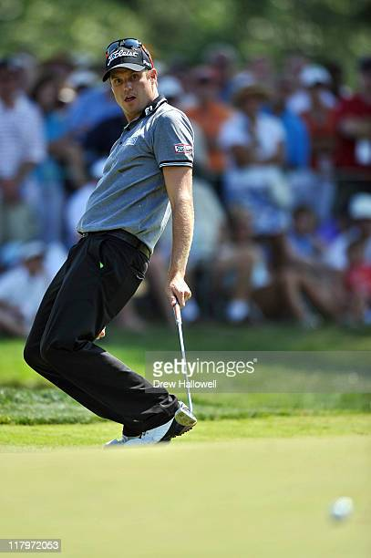 Nick Watney reacts to a missed birdie on the 18th hole during the third round of the ATT National at Aronimink Golf Club on July 2 2011 in Newtown...