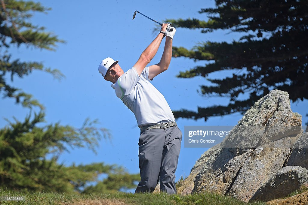 Nick Watney tees off on the 11th hole during the first round of the AT&T Pebble Beach National Pro-Am at Monterey Peninsula Country Club (Shore Course) on February 12, 2015 in Pebble Beach, California.